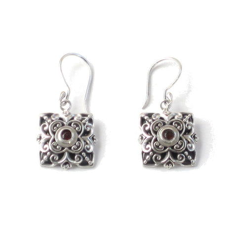 Garnet Earrings with Square Silver Settings - Pair
