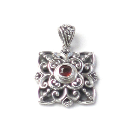 Garnet Pendant with Square Silver Setting - Front