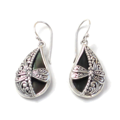 Silver Dragonfly Earrings with Black Mother of Pearl - Pair