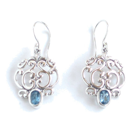 Silver Filigree Earrings with London Blue Topaz - Pair