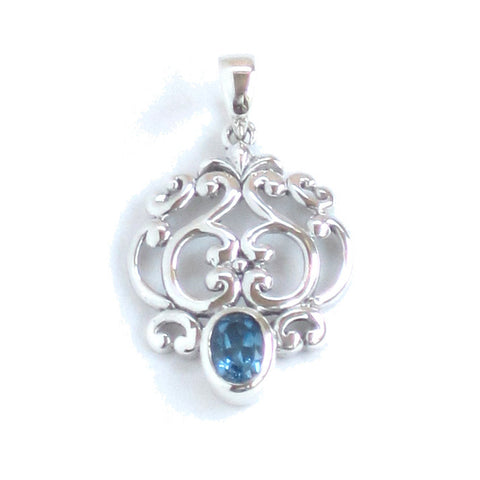Silver Filigree Pendant with London Blue Topaz