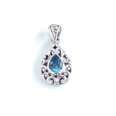 Swiss Blue Topaz Pendant with Silver Filigree