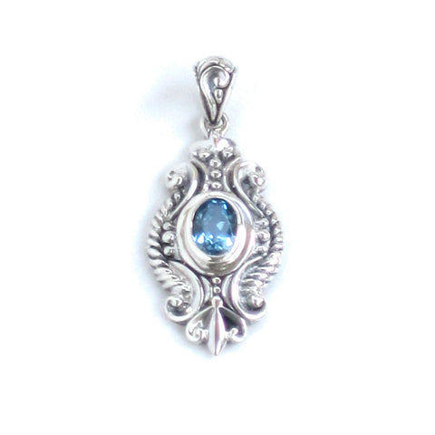 Silver Filigree Pendant with Swiss Blue Topaz
