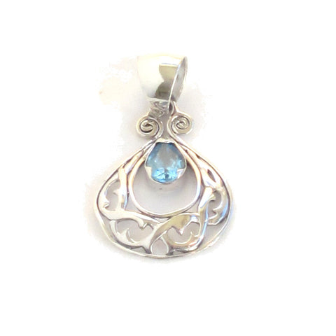 Sterling Silver Crescent Pendant with Swiss Blue Topaz