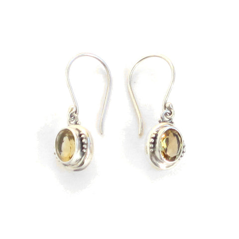 Citrine Drop Earrings with Silver Settings - Pair