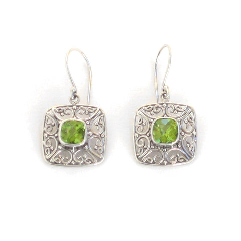 Silver Square Peridot Earrings with Filigree - Pair