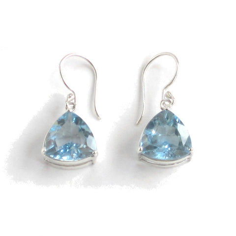 Trillion-cut Swiss Blue Topaz Earrings with Silver Settings - Pair