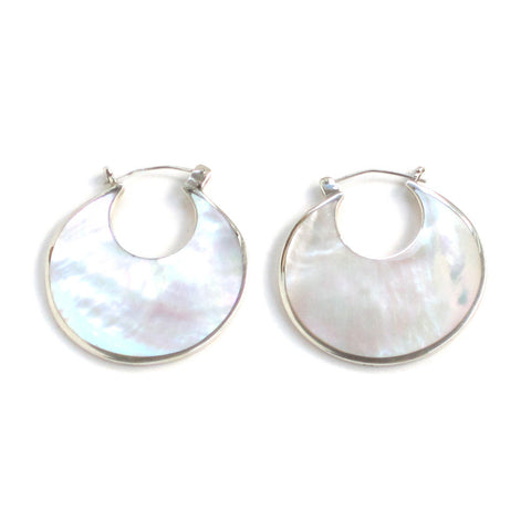 Mother of Pearl Earrings with Sterling Silver - Pair