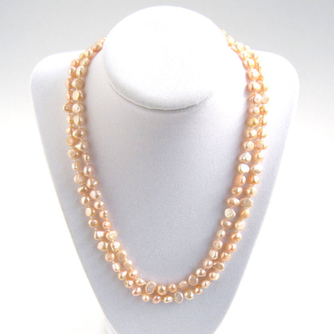Pink Freshwater Pearl Necklace - Doubled