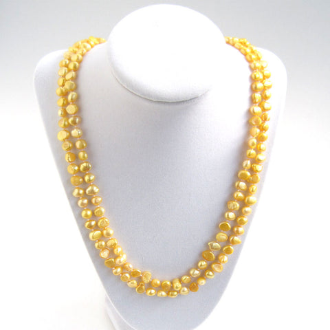 Golden Freshwater Pearl Necklace - Doubled