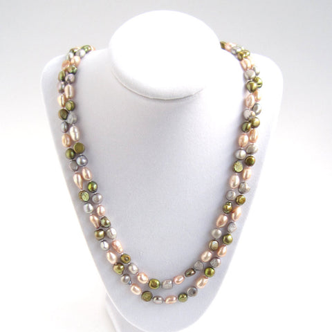 Freshwater Pearl Necklace: Pink, Silver, Green - Doubled