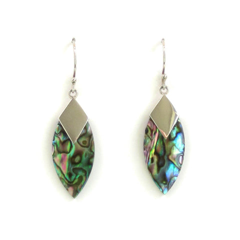 Marquise-Shaped Abalone Earrings with Silver - Pair