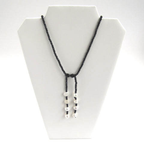 Black Crystal Lariat Necklace - Front, Tied