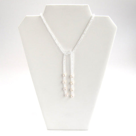 White Crystal Lariat Necklace - Front, Tied