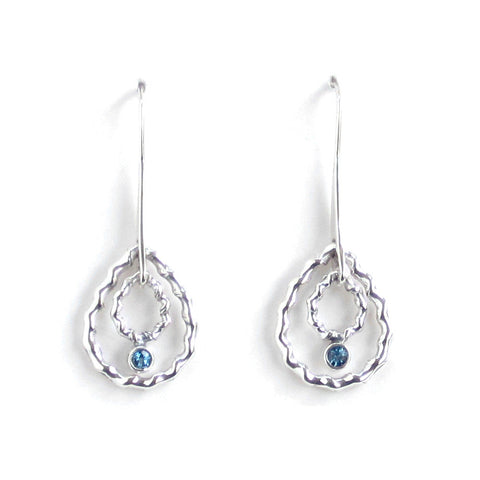 Silver Double Drop Earrings with Blue Topaz - Pair