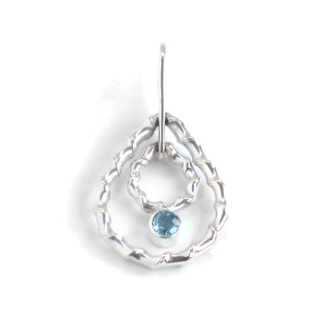 Silver Double Drop Pendant with Blue Topaz