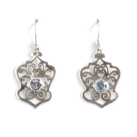 Silver Filigree Earrings with Sky Blue Topaz - Pair