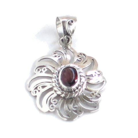 Garnet Pendant with Sunburst Silver Setting - Front