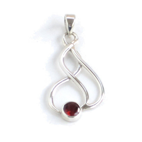 Silver Garnet Pendant with Flowing Filigree Design