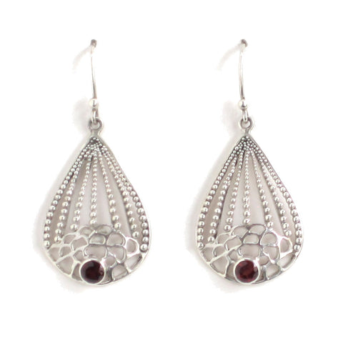 Silver Garnet Earrings with Organic Filigree Design - Pair
