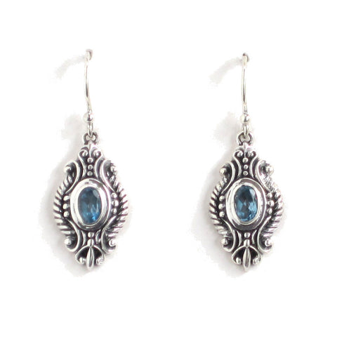 Silver Filigree Earrings with Swiss Blue Topaz - Pair