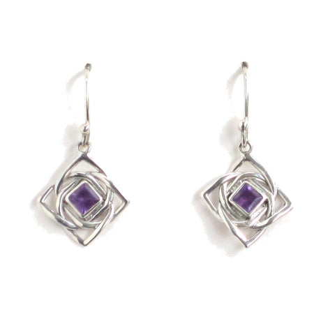 Silver Amethyst Earrings with Endless Knot Pattern - Pair