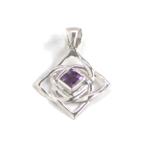 Silver Amethyst Pendant with Endless Knot Pattern