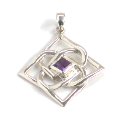 Large Silver Amethyst Pendant with Endless Knot Pattern