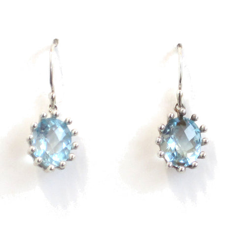 Sky Blue Topaz Earrings with Silver Settings - Pair