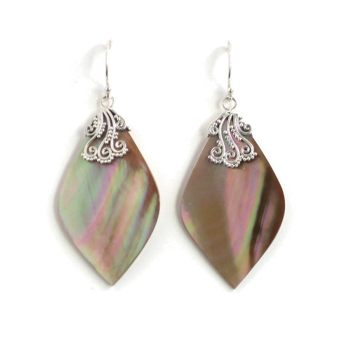 Natural Mother of Pearl Marquise Earrings with Silver Filigree - Pair