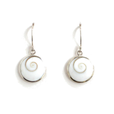 Round Cat's Eye Shell Earrings with Sterling Silver - Pair