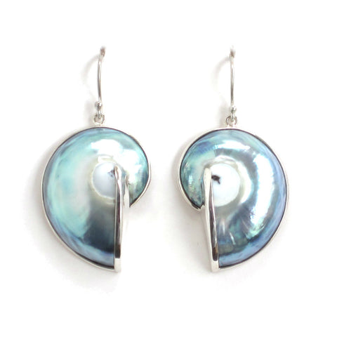Nautilus Shell Earrings with Sterling Silver - Pair