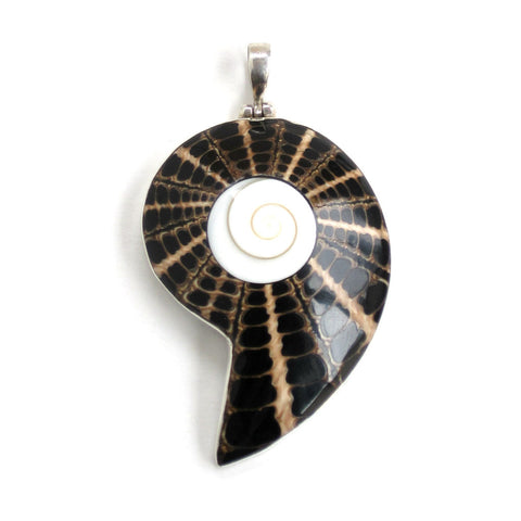 Black Spider Shell Pendant with Sterling Silver - Front