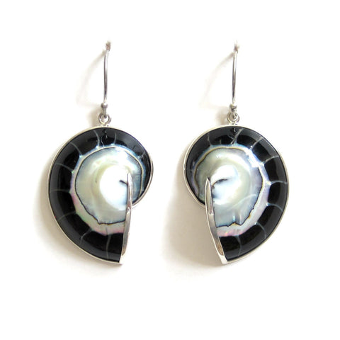 Black Nautilus Shell Earrings with Sterling Silver - Pair
