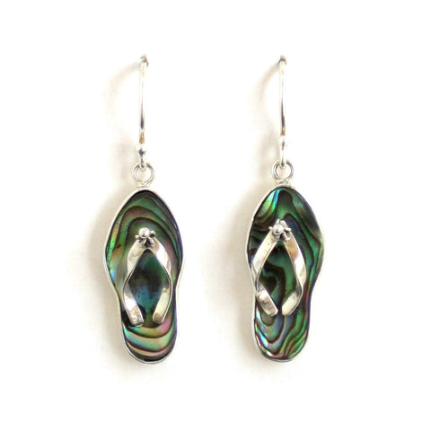 Abalone Flip Flop Earrings with Sterling Silver - Pair