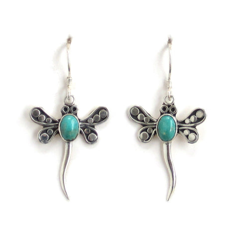 Dragonfly Turquoise Dangle Earrings with Sterling Silver - Pair