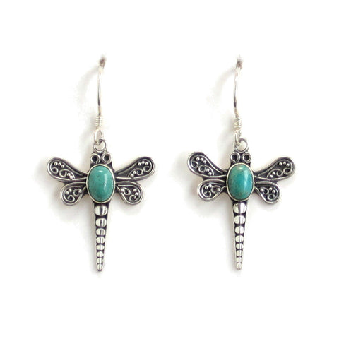 Dragonfly Turquoise Dangle Earrings with Silver Filigree - Pair