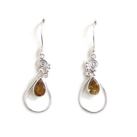 Citrine Dangle Earrings with Silver Filigree - Pair