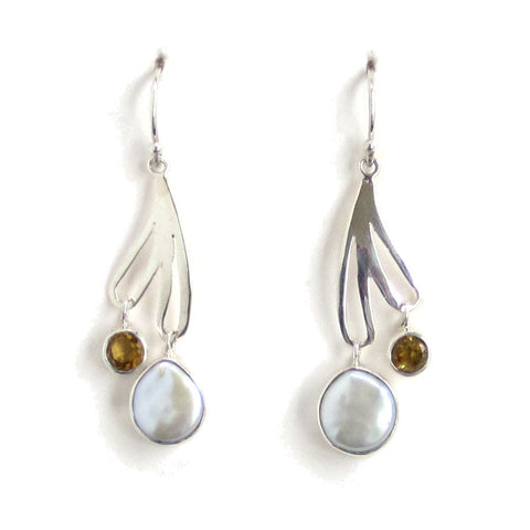 Sterling Silver Dangle Earrings with Pearl and Citrine - Pair