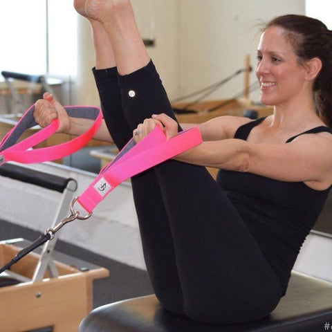 Good Citizen CEO & Founder doing a Pilates Teaser with Blue Jean Baby Double Padded Loops.