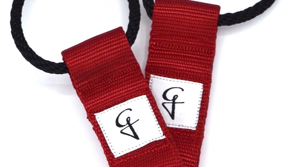 red and white fleur de lis pilates straps reformer foot loops