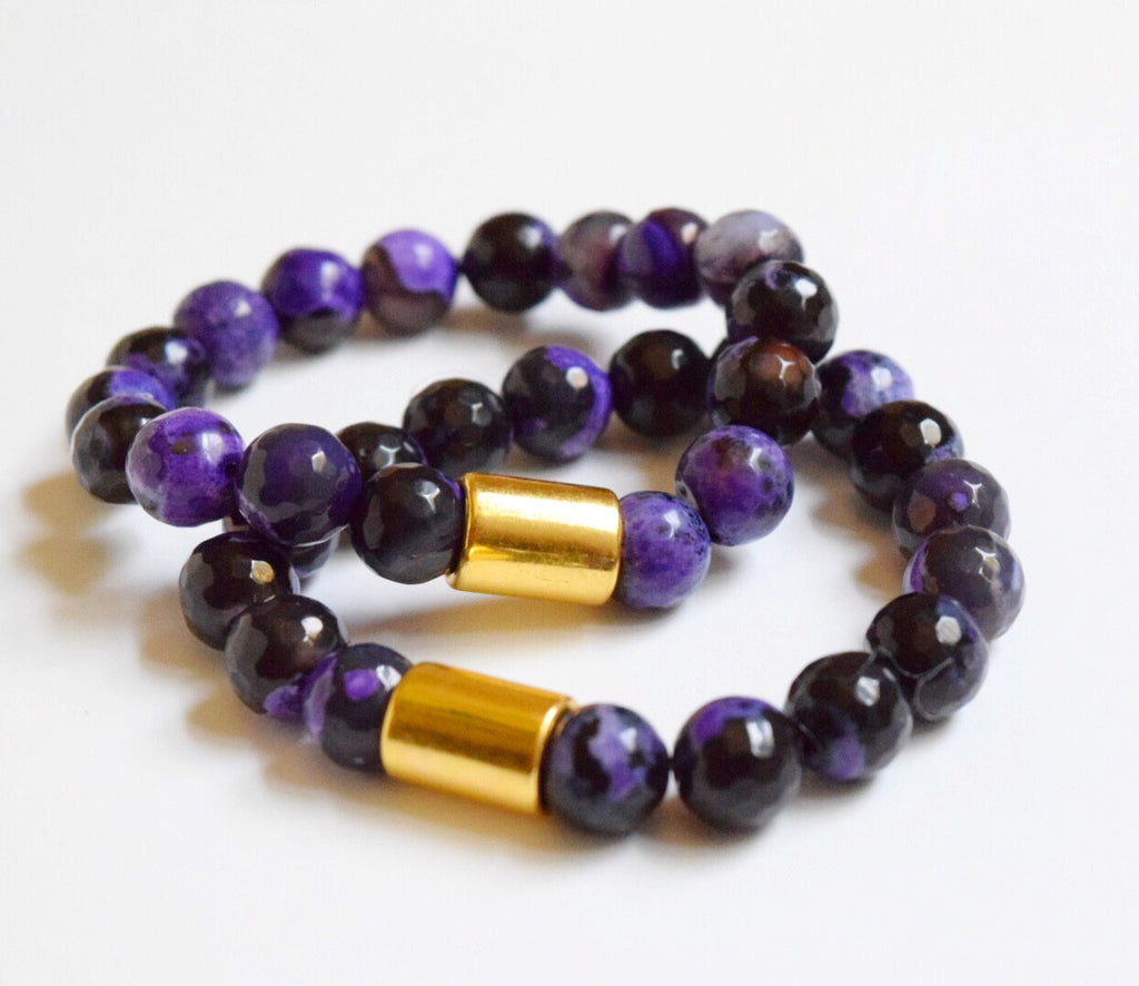 Purple/Black Faceted Agate Bracelet