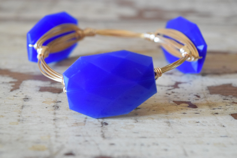Blue Acrylic Wire Wrap Bangle