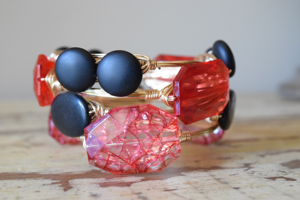 Red Crystal Acrylic Wire Wrap Bangle