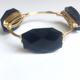 Black Acrylic Wire Wrap Bangle