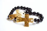 Gold Hammered Cross Beaded Bracelet