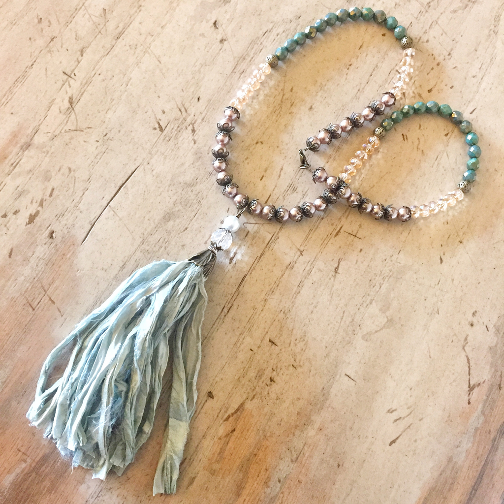 Green Sari Silk Tassel Necklace