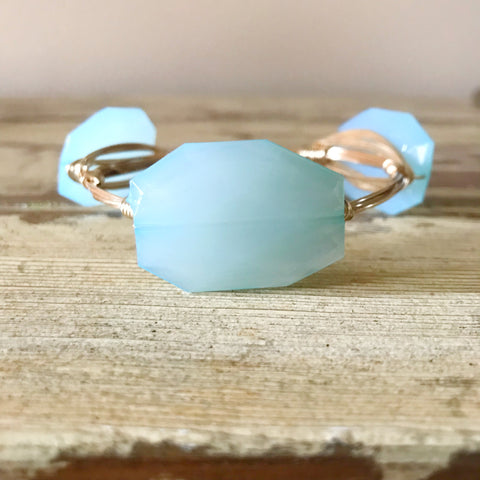 Sky Blue Acrylic Wire Wrap Bangle