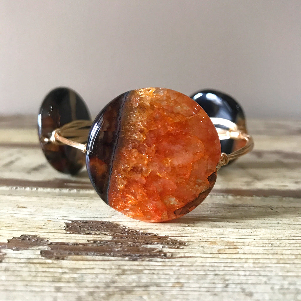 Orange and Black Banded Agate wire wrap bracelet