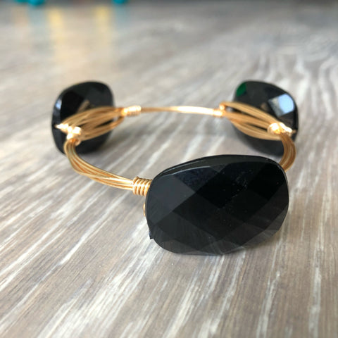 Black Bead Bangle